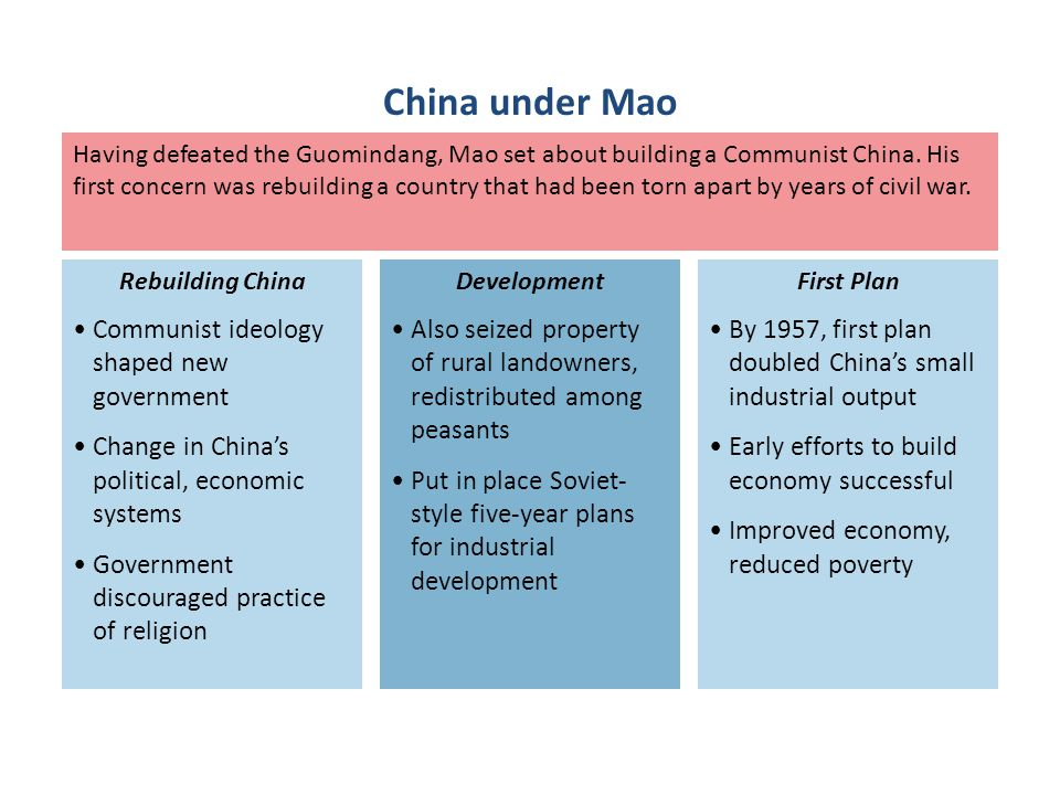 China under Mao Communist ideology shaped new government