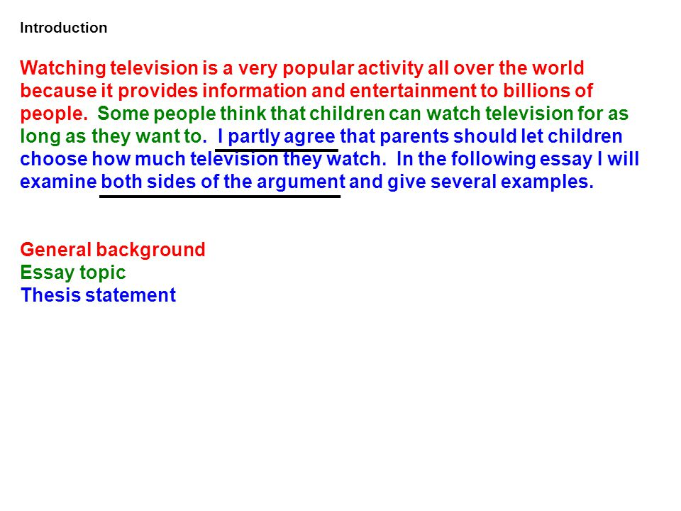 what s the topic of our essay ppt video online  11 introduction watching television