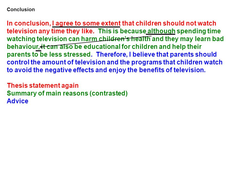 Thesis statement again Summary of main reasons (contrasted) Advice