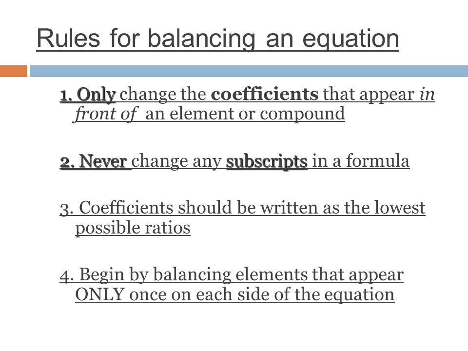 Rules for balancing an equation