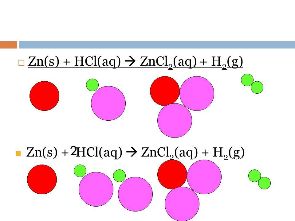 2 Zn(s) + HCl(aq)  ZnCl2(aq) + H2(g)