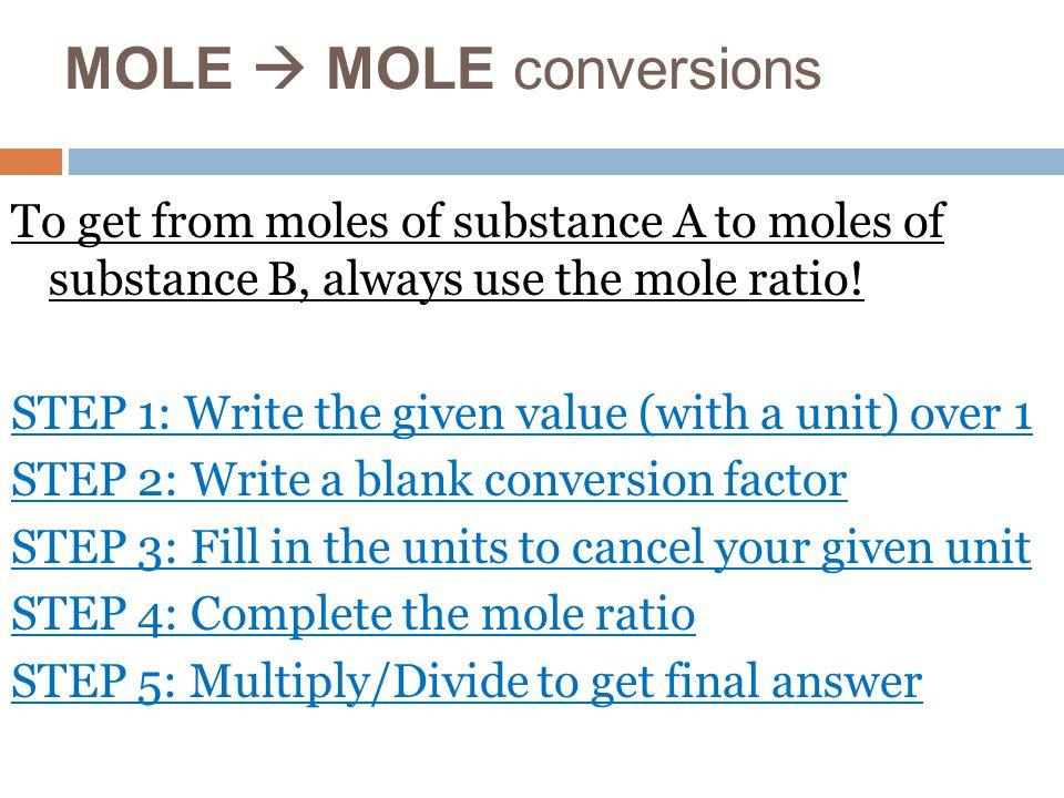 MOLE  MOLE conversions