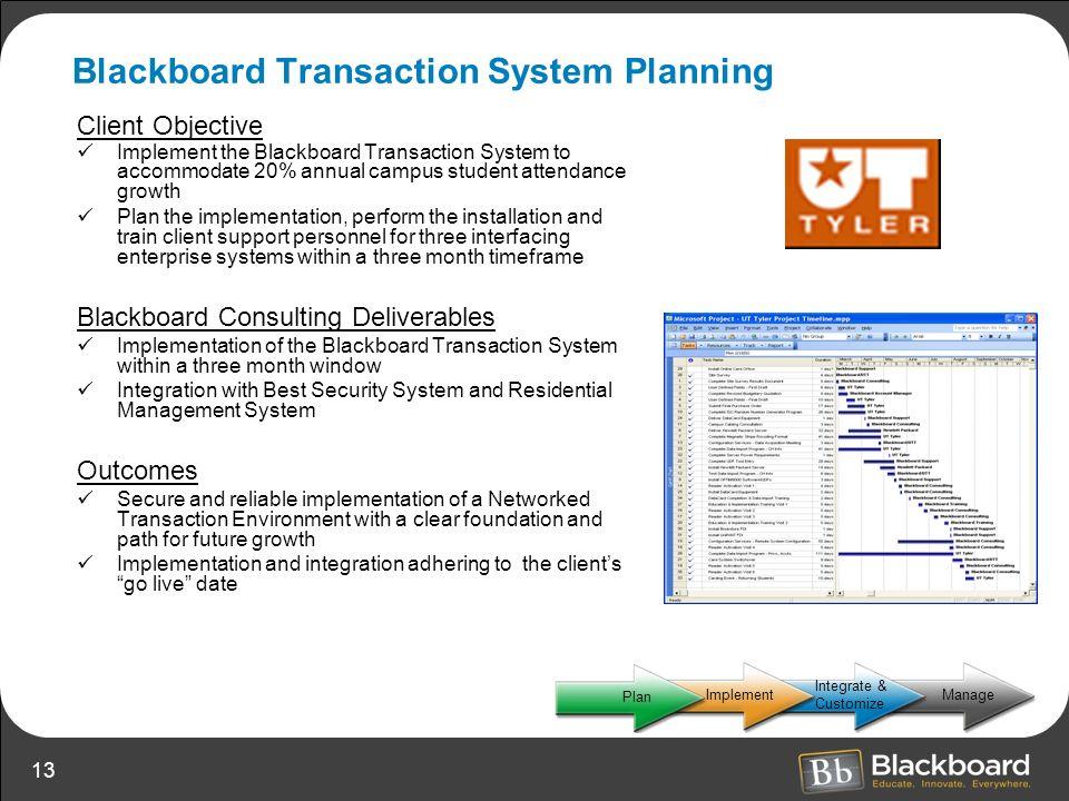 Blackboard Transaction System Planning