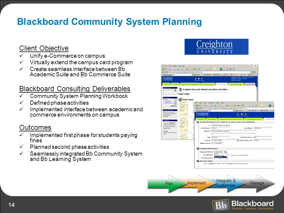 Blackboard Community System Planning