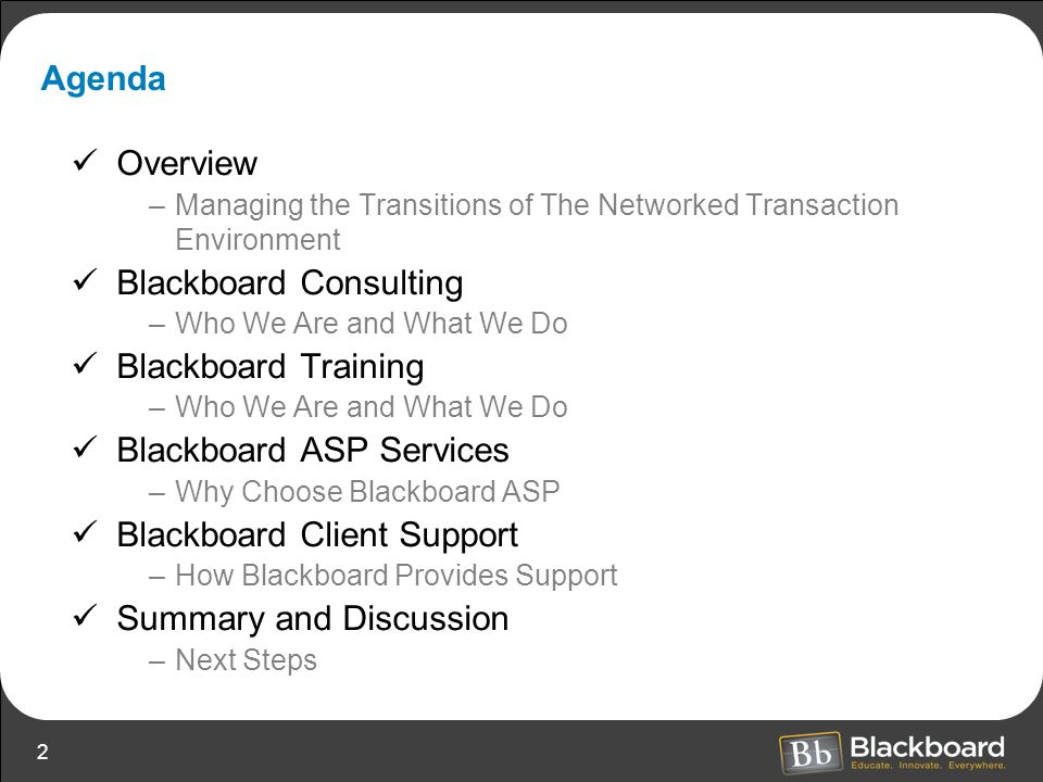 Blackboard Consulting Blackboard Training Blackboard ASP Services