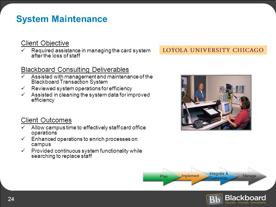 System Maintenance Client Objective Blackboard Consulting Deliverables