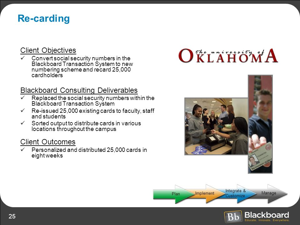 Re-carding Client Objectives Blackboard Consulting Deliverables