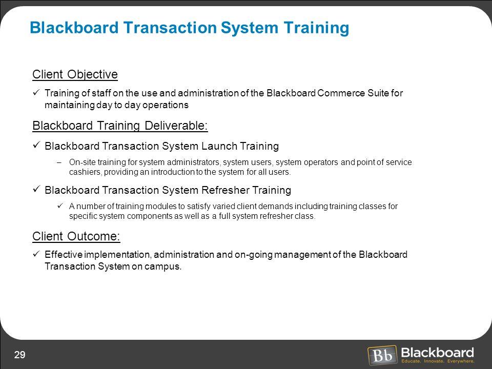 Blackboard Transaction System Training