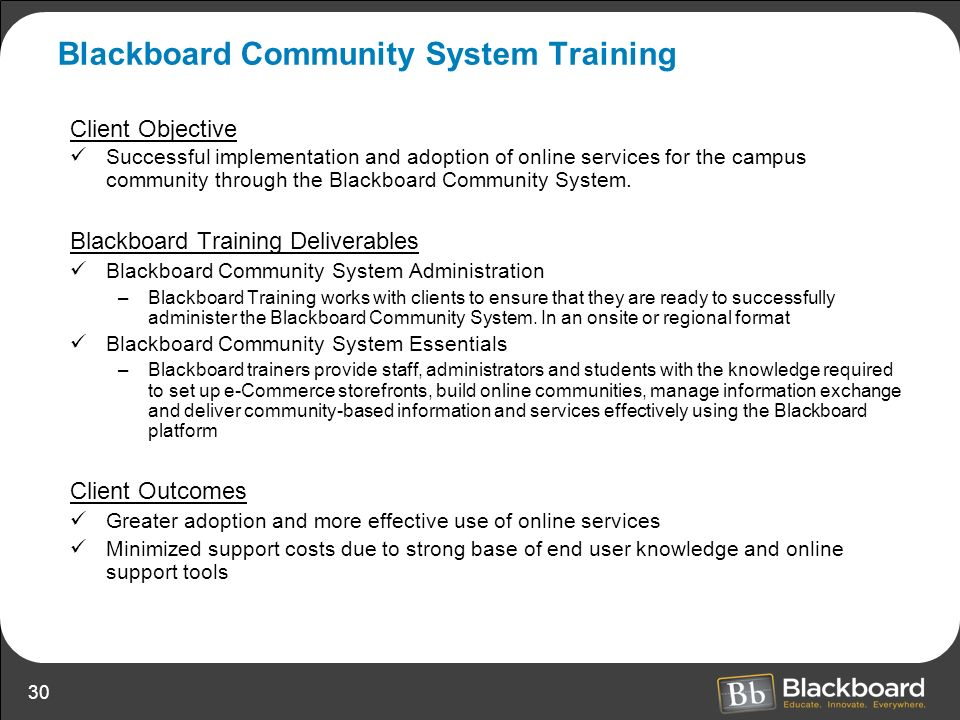 Blackboard Community System Training