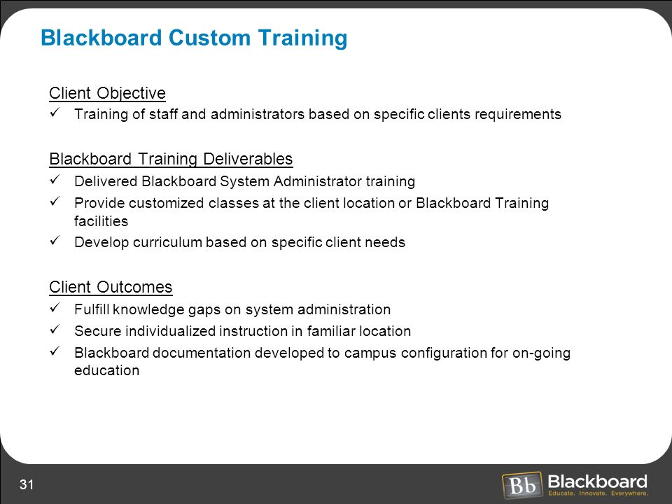 Blackboard Custom Training