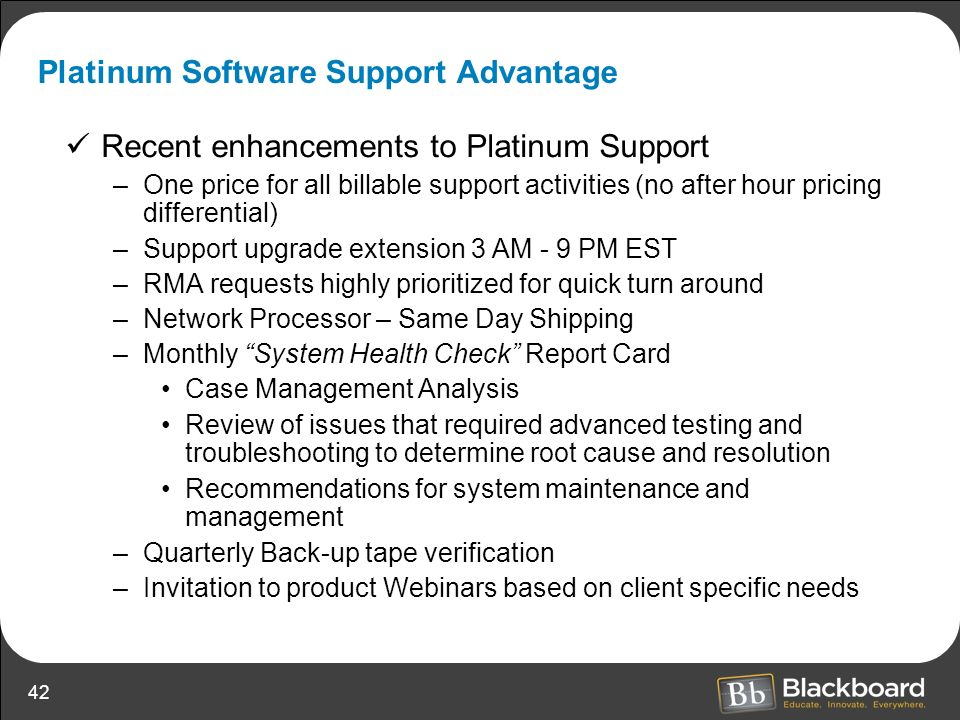 Platinum Software Support Advantage