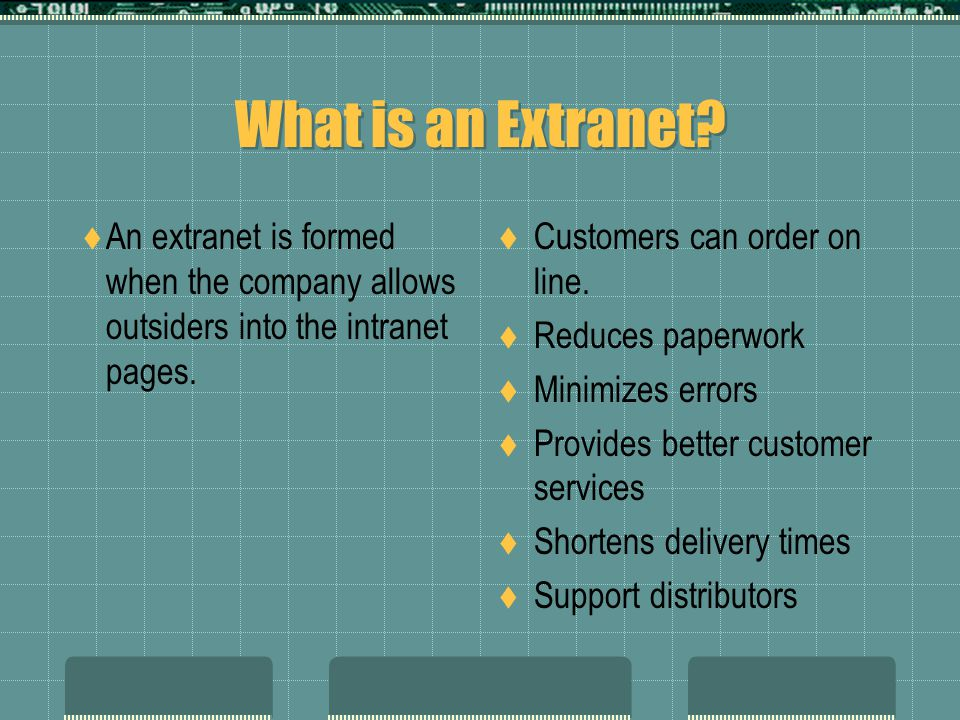What is an Extranet An extranet is formed when the company allows outsiders into the intranet pages.
