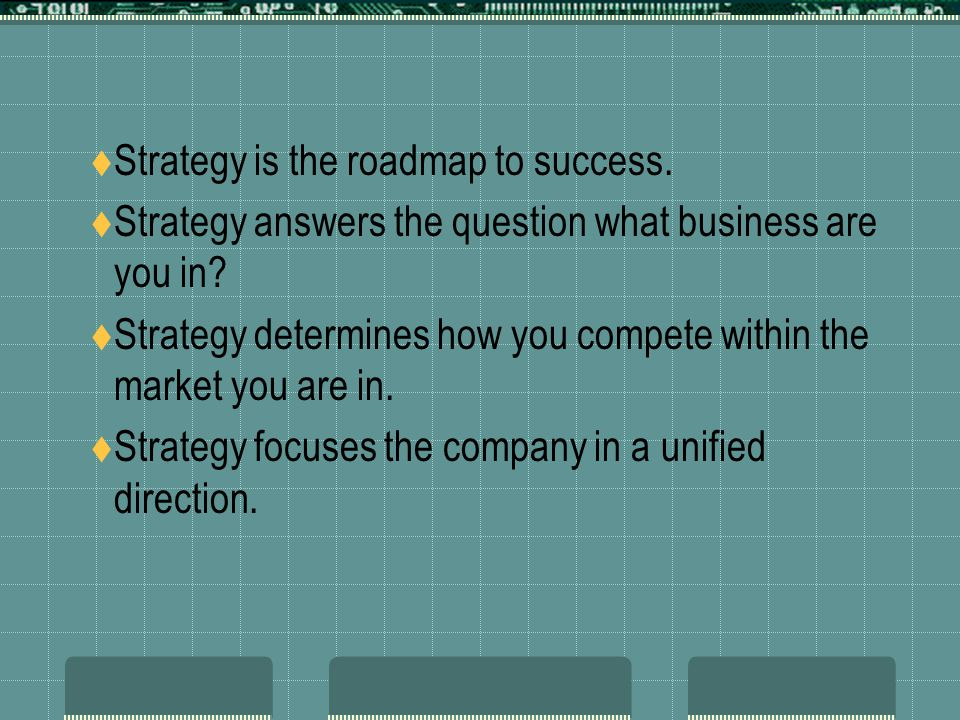 Strategy is the roadmap to success.