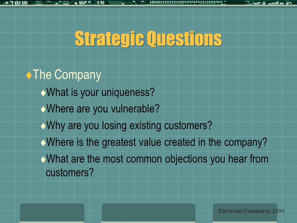 Strategic Questions The Company What is your uniqueness