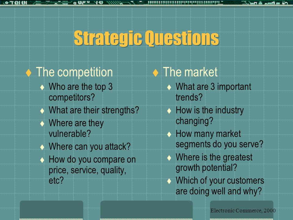 Strategic Questions The competition The market