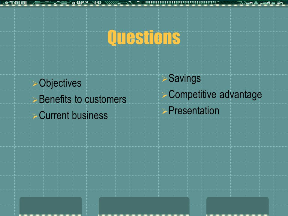 Questions Savings Objectives Competitive advantage
