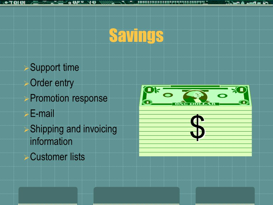 $ Savings Support time Order entry Promotion response E-mail
