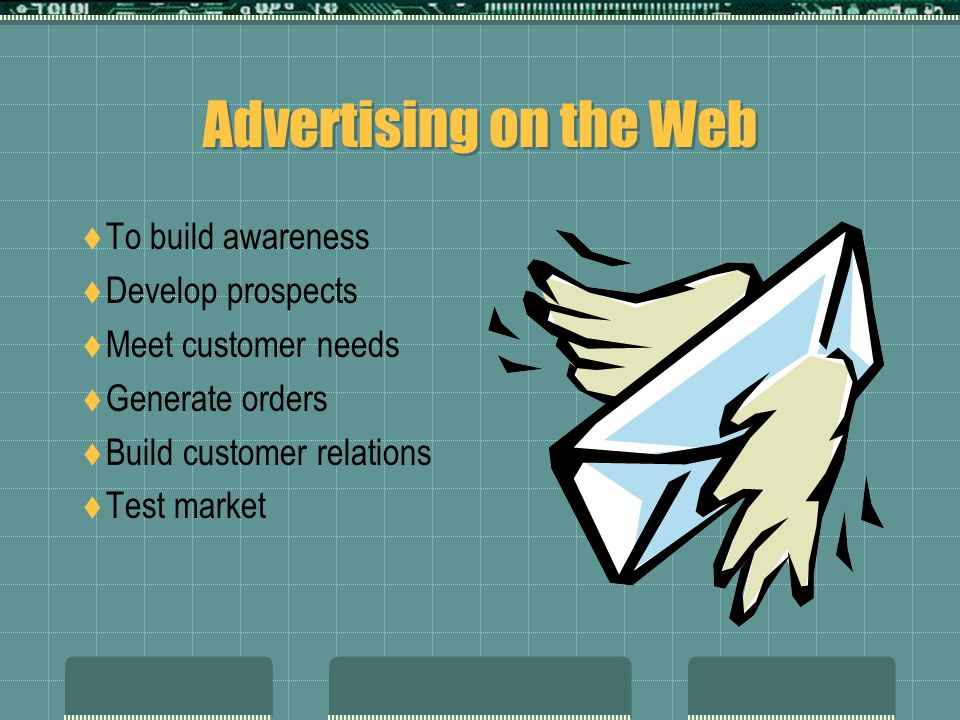 Advertising on the Web To build awareness Develop prospects