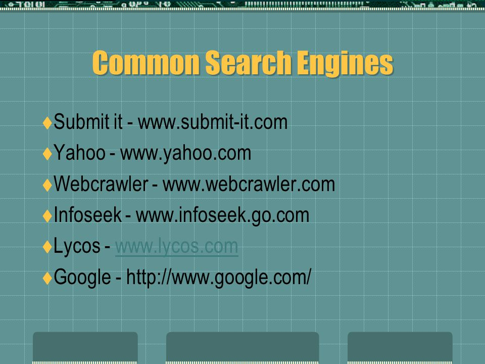Common Search Engines Submit it - www.submit-it.com