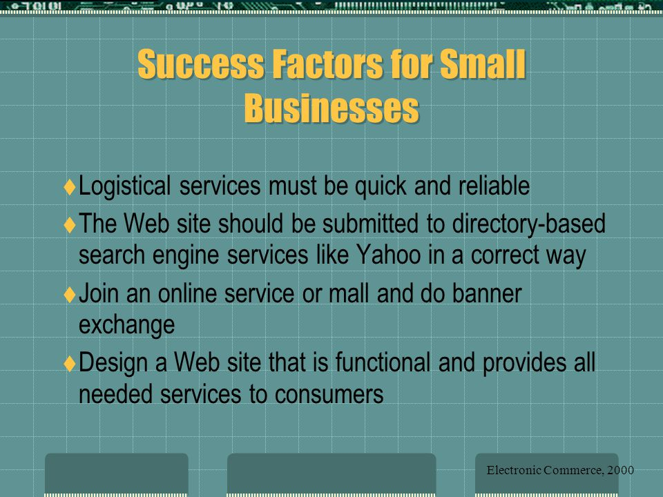 Success Factors for Small Businesses