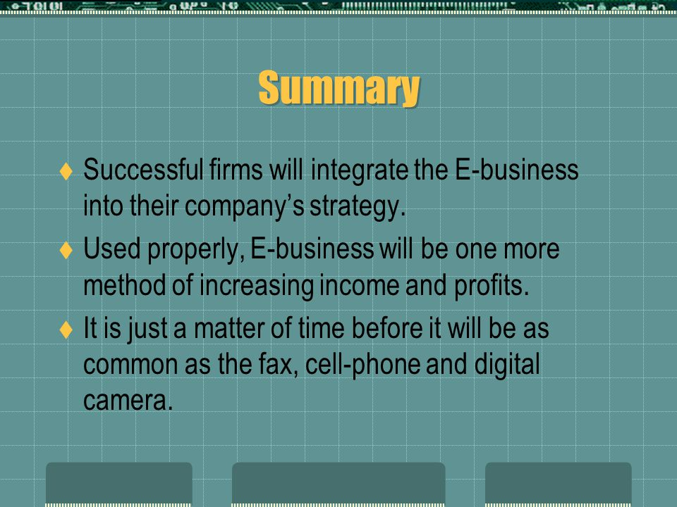 Summary Successful firms will integrate the E-business into their company's strategy.