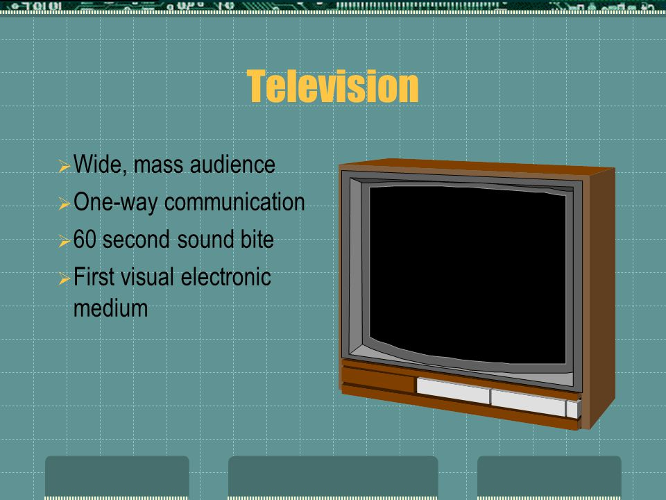 Television Wide, mass audience One-way communication