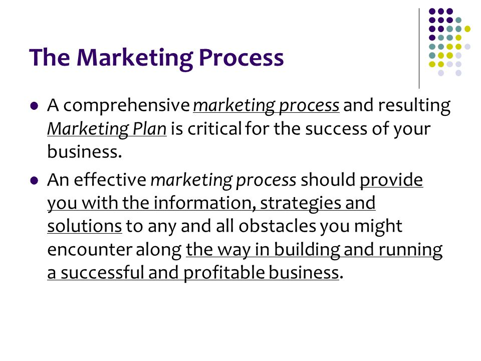 The Marketing Process A comprehensive marketing process and resulting Marketing Plan is critical for the success of your business.