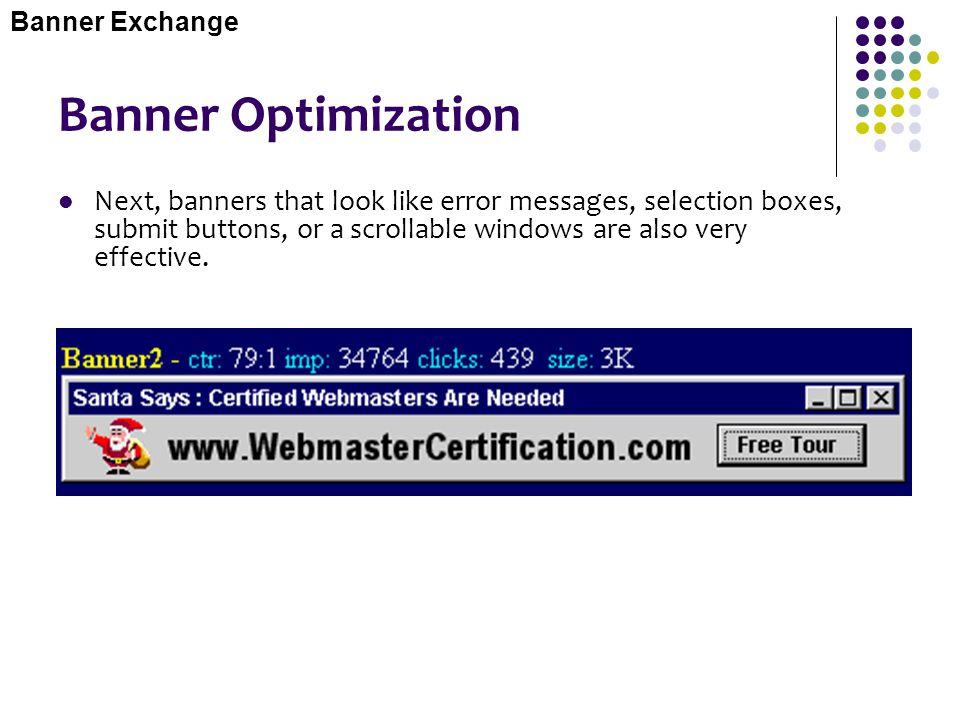 Banner Exchange Banner Optimization.