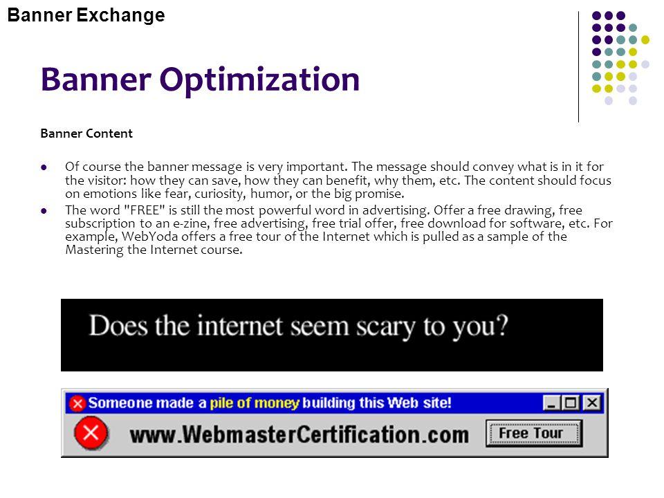 Banner Optimization Banner Exchange Banner Content