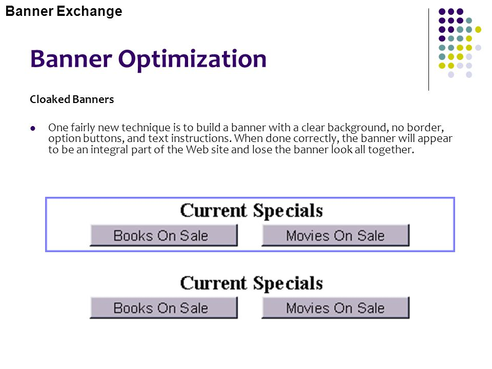 Banner Optimization Banner Exchange Cloaked Banners