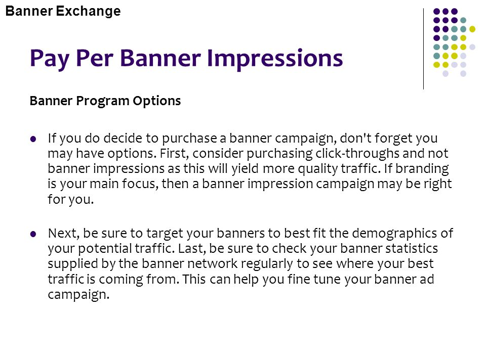 Pay Per Banner Impressions
