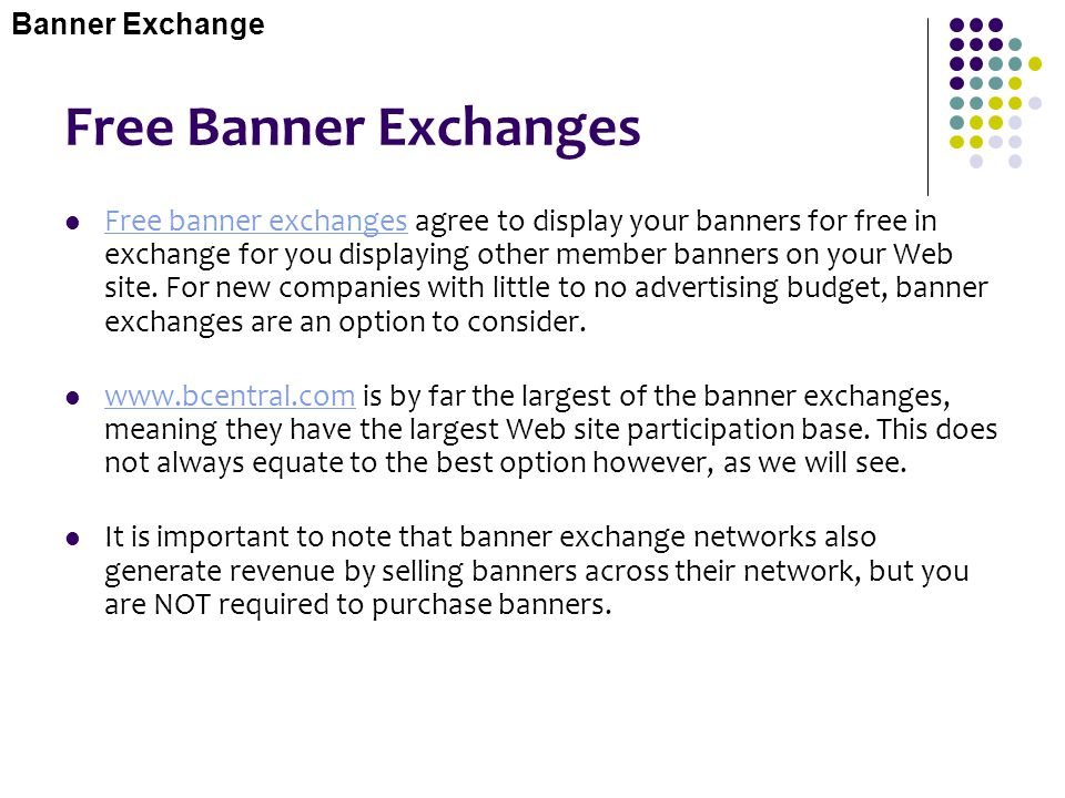 Banner Exchange Free Banner Exchanges.