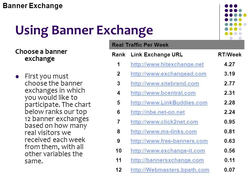Using Banner Exchange Choose a banner exchange