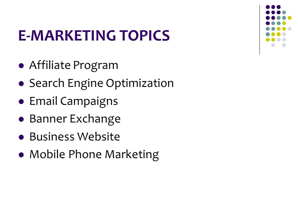 E-MARKETING TOPICS Affiliate Program Search Engine Optimization