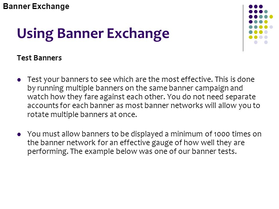 Using Banner Exchange Test Banners