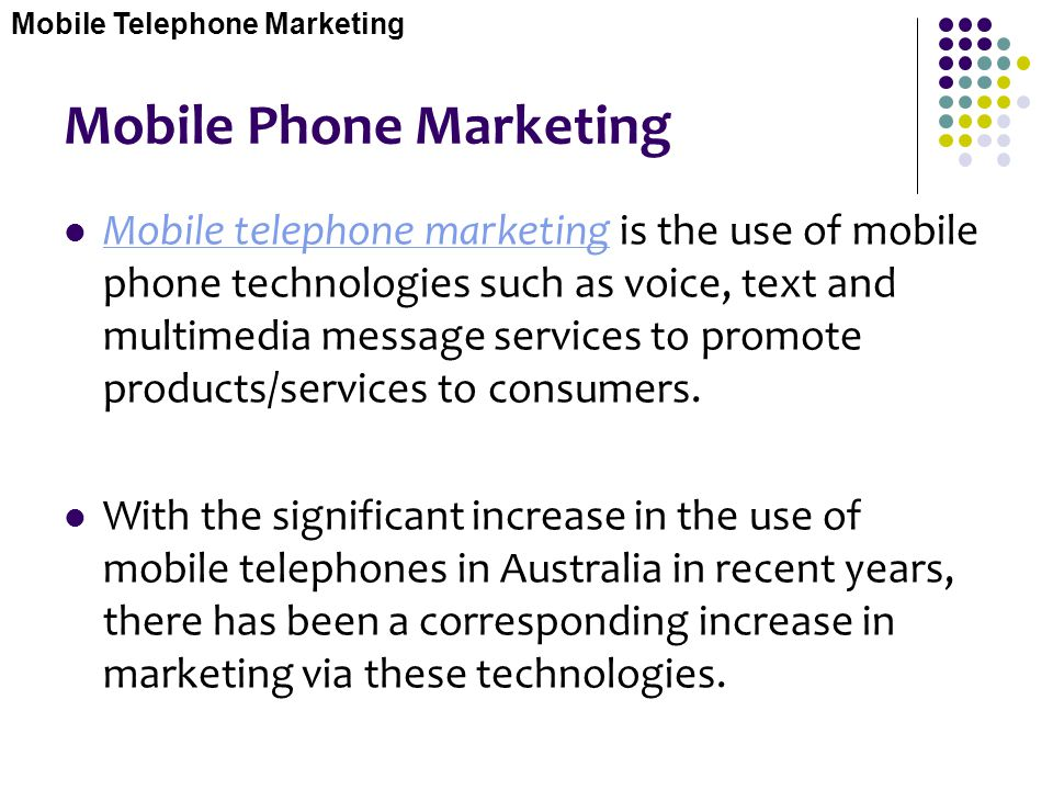 Mobile Phone Marketing