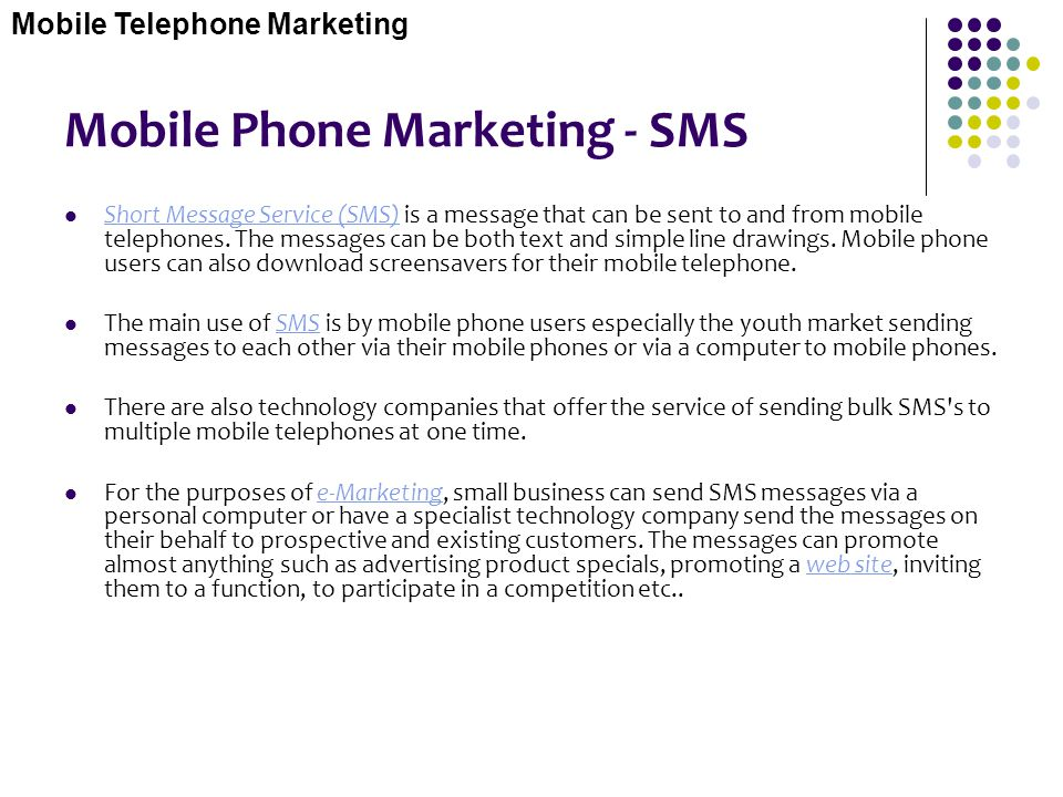 Mobile Phone Marketing - SMS