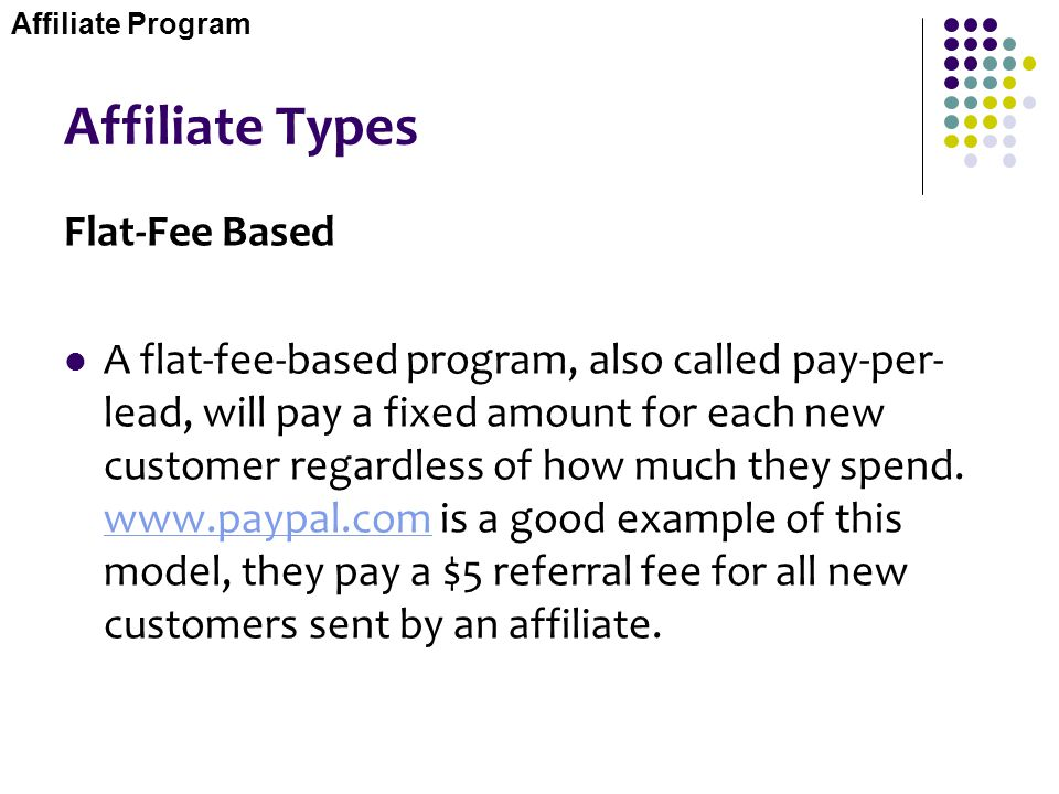 Affiliate Types Flat-Fee Based