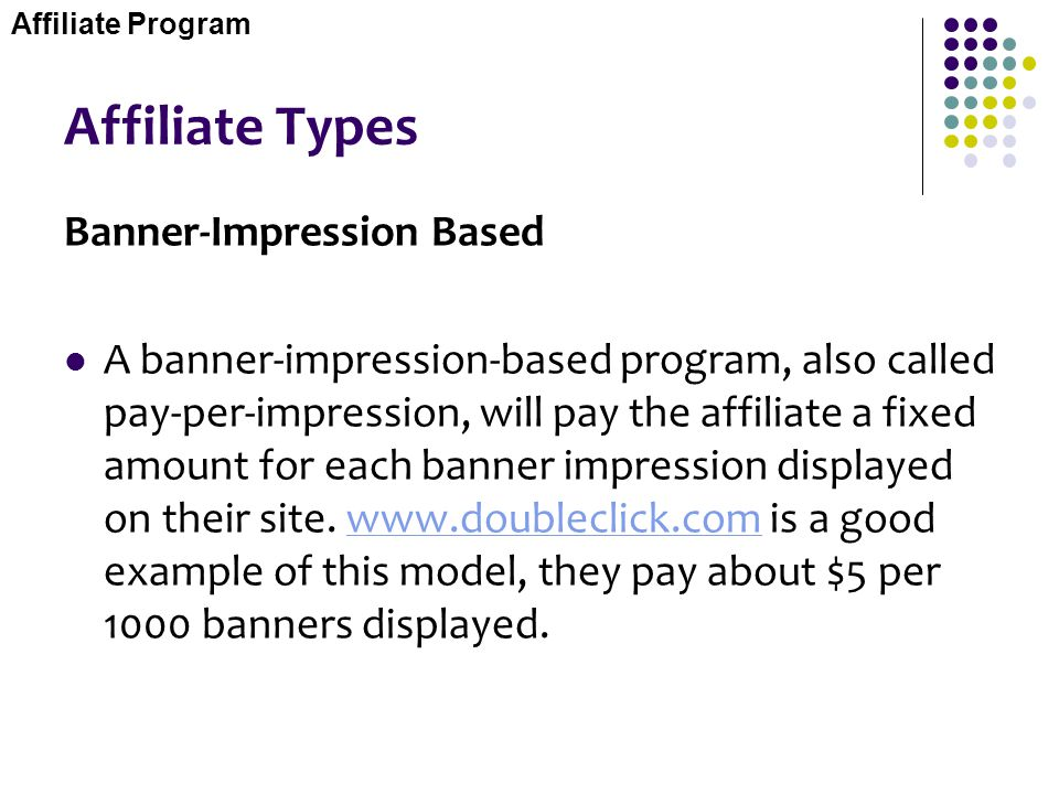 Affiliate Types Banner-Impression Based