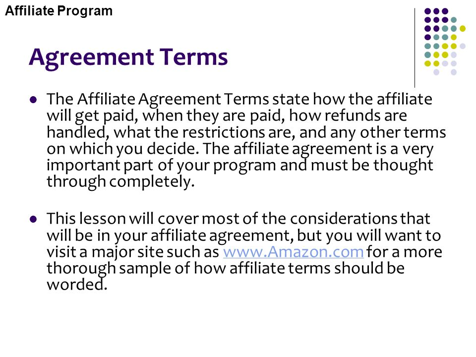 Affiliate Program Agreement Terms.
