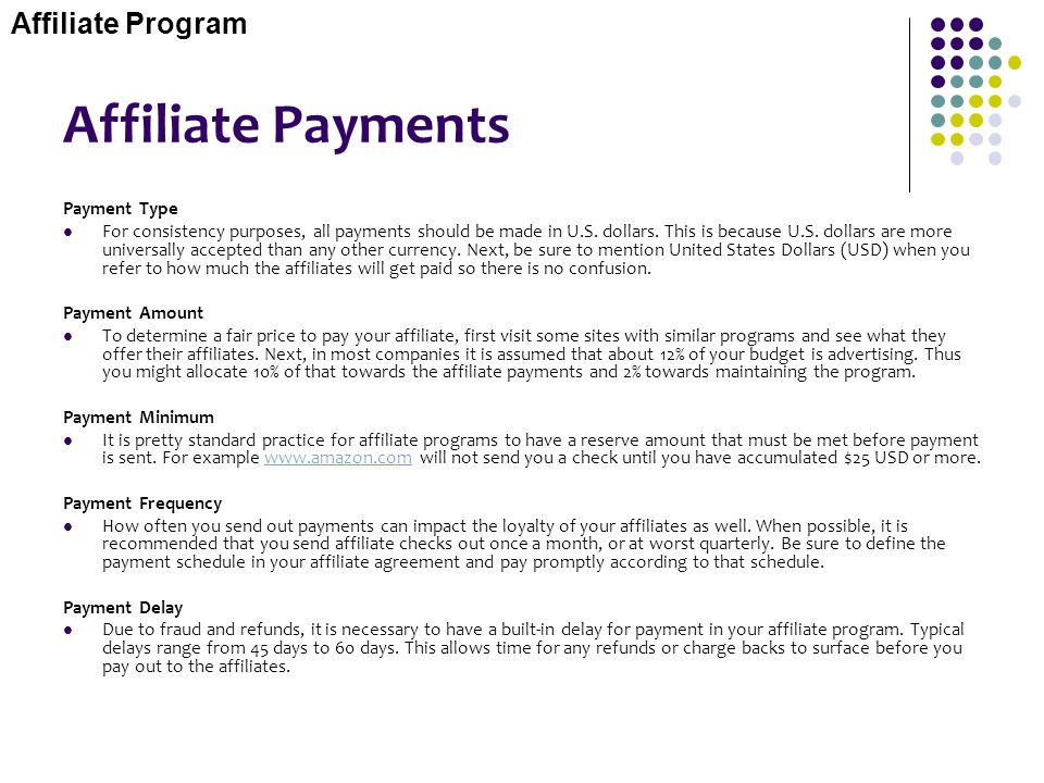 Affiliate Payments Affiliate Program Payment Type