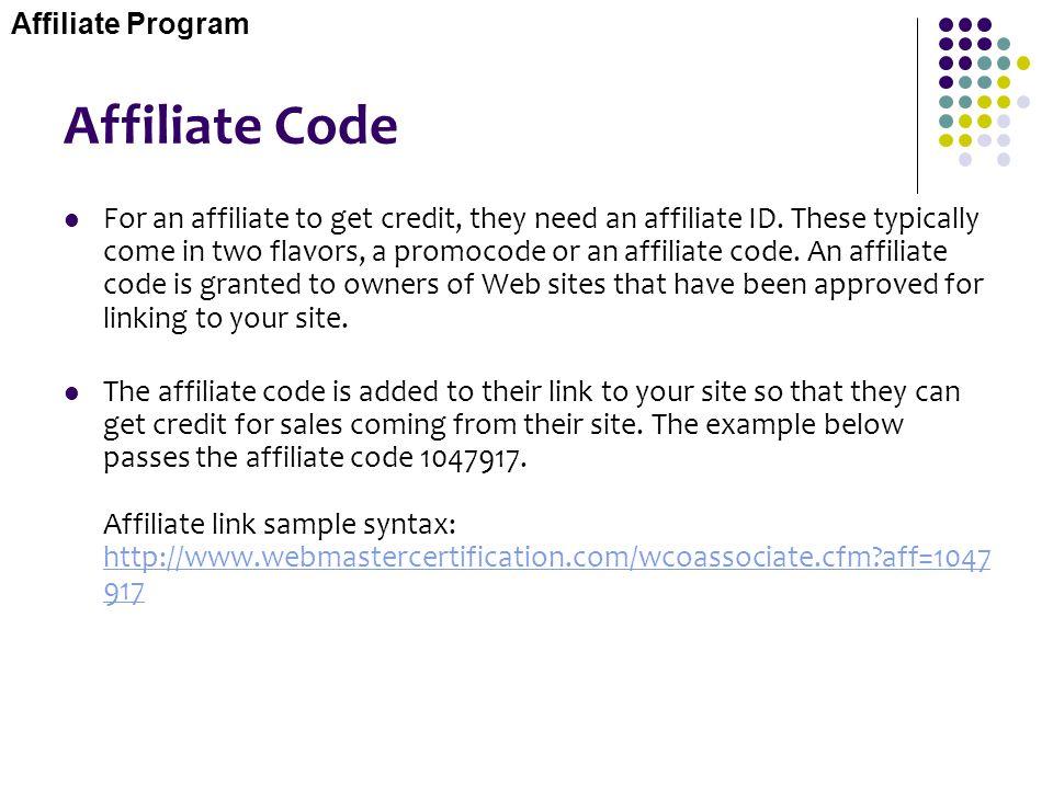 Affiliate Program Affiliate Code.