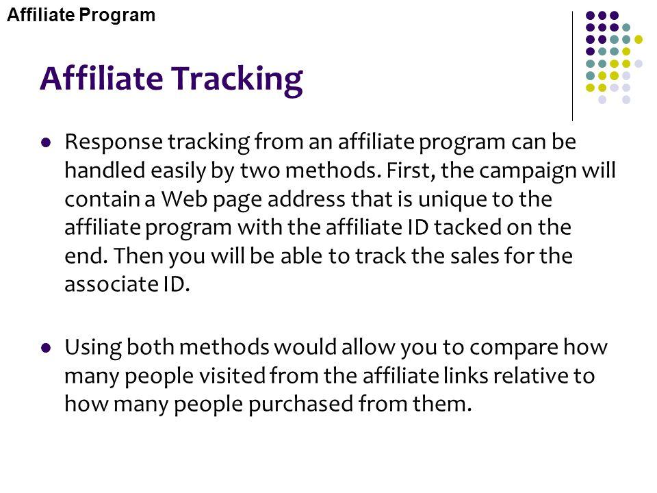 Affiliate Program Affiliate Tracking.