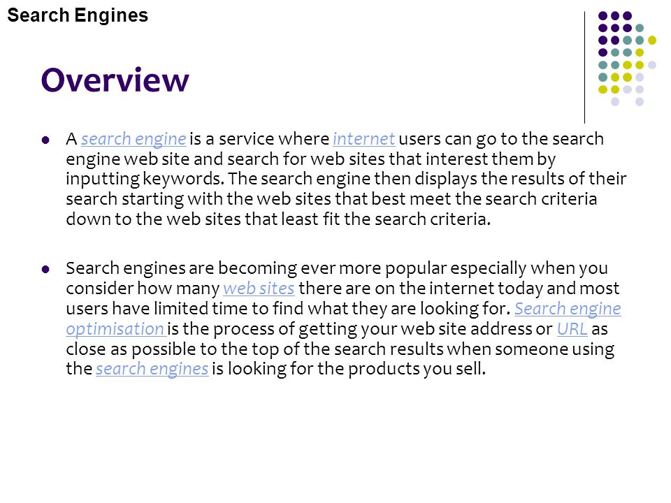 Overview Search Engines