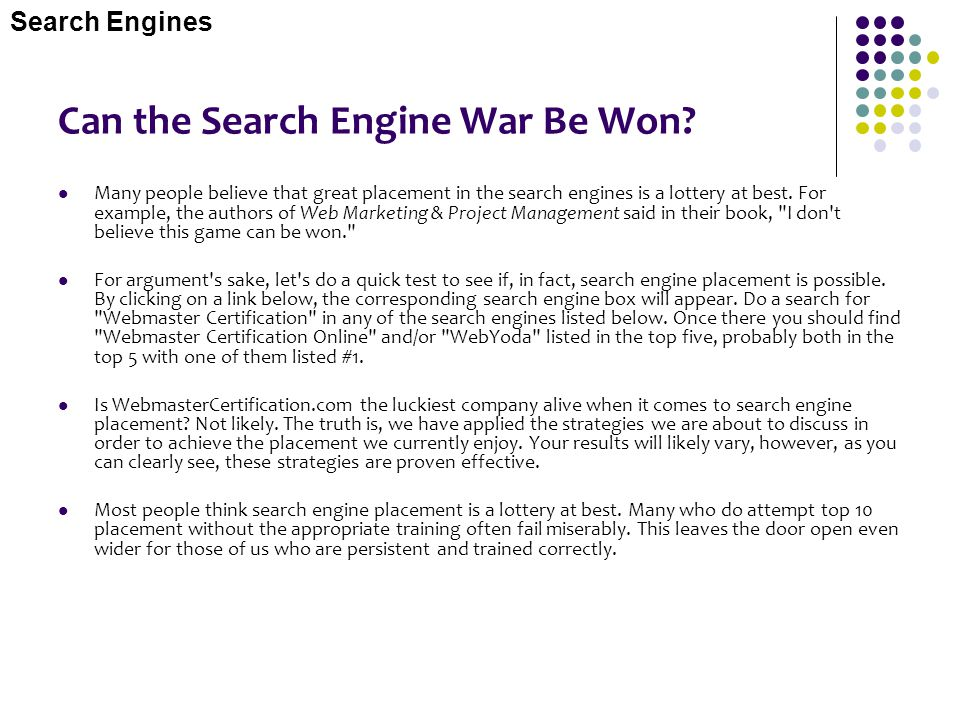 Can the Search Engine War Be Won