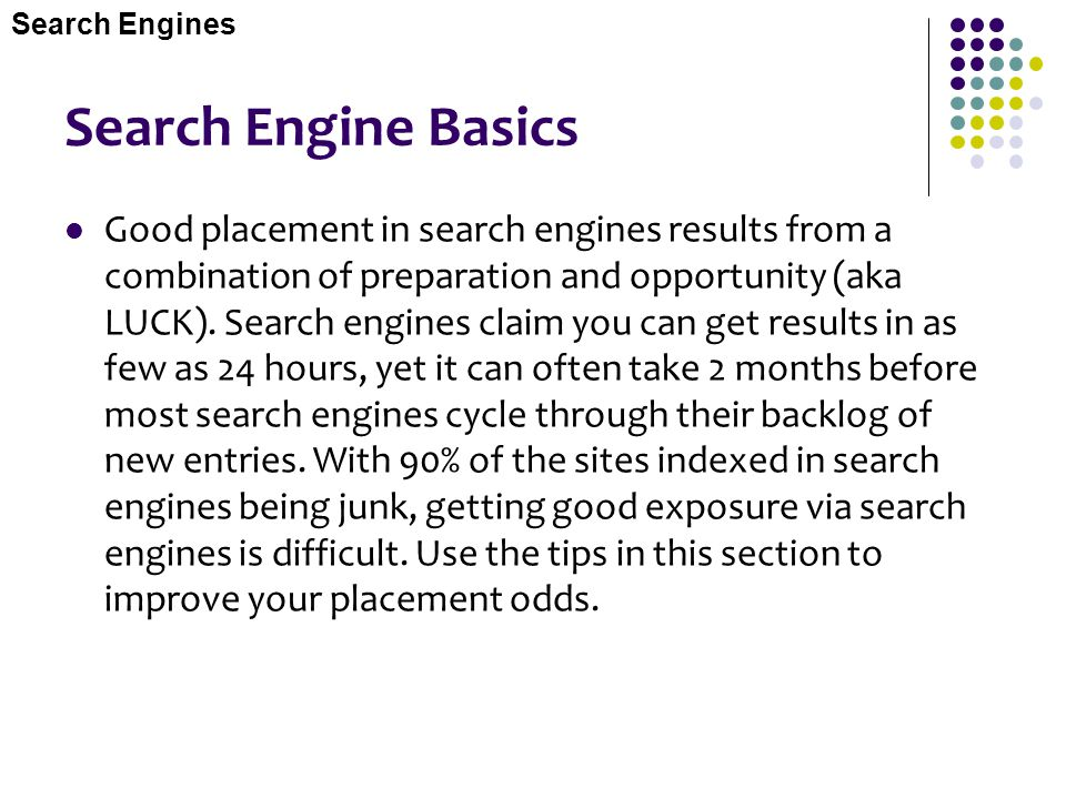 Search Engines Search Engine Basics.