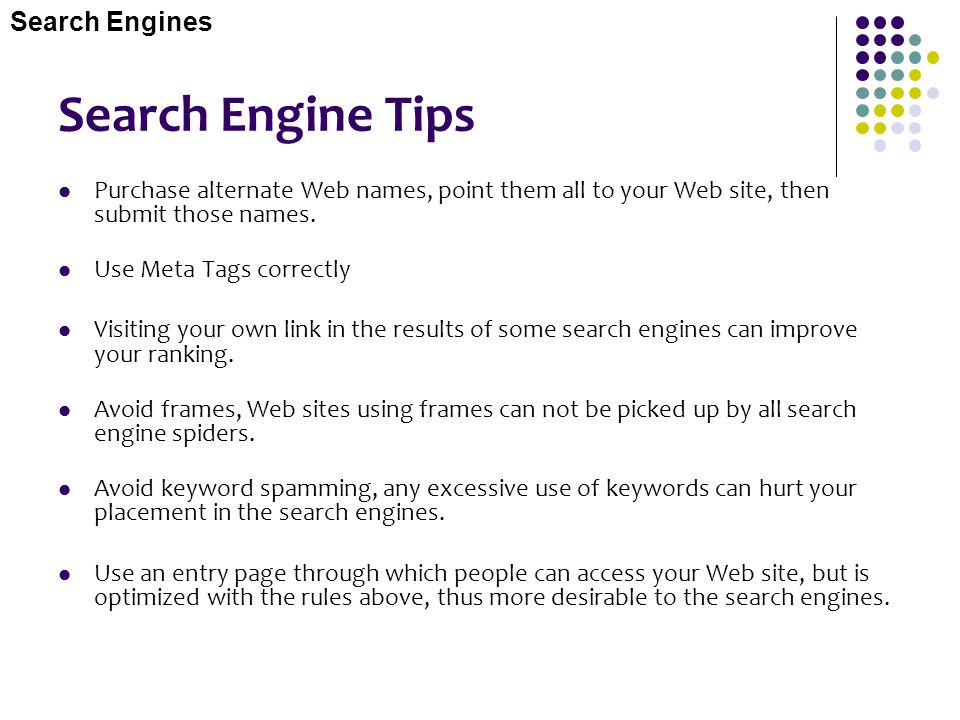 Search Engine Tips Search Engines