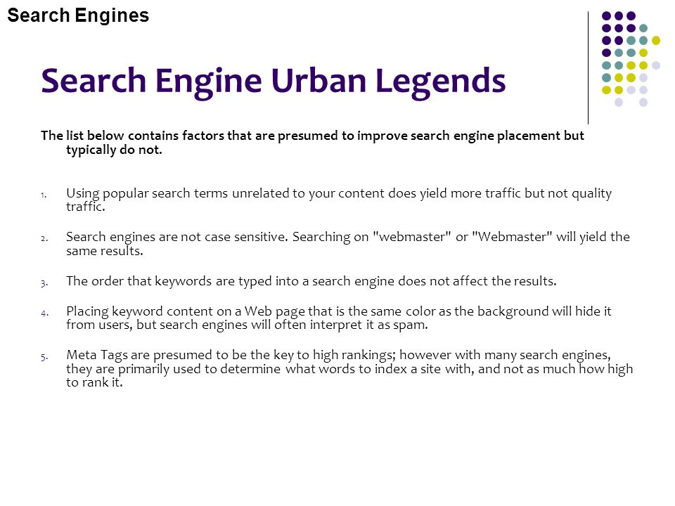Search Engine Urban Legends