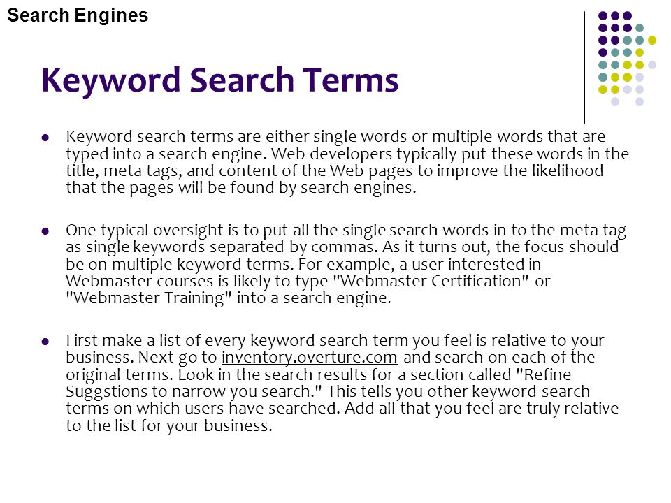 Keyword Search Terms Search Engines