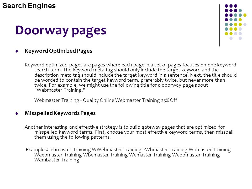 Doorway pages Search Engines Keyword Optimized Pages